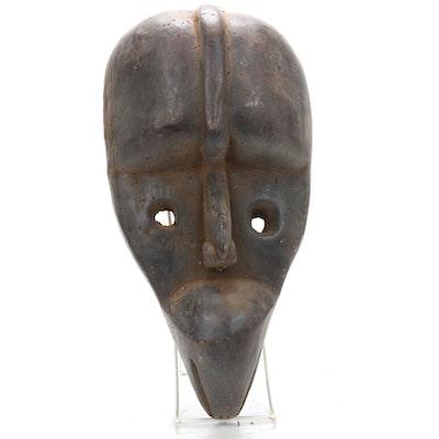 Dan Inspired Wooden Mask with Bird Motif, West Africa