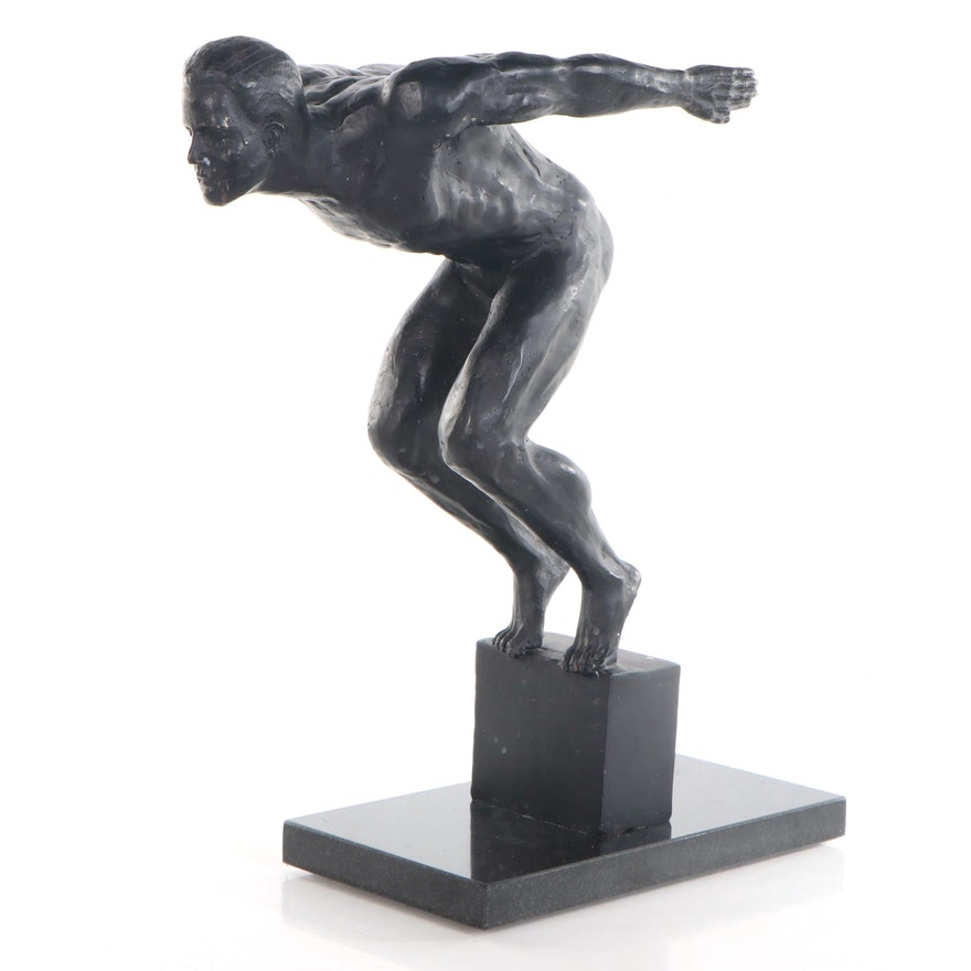 Bronze Figurative Sculpture of Diving Pose, Late 20th Century