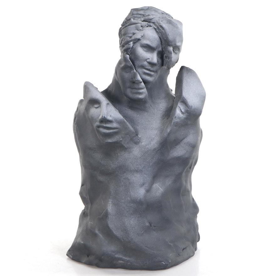 Sean Corner Terracotta Sculpture of Fractured Portrait, 2013
