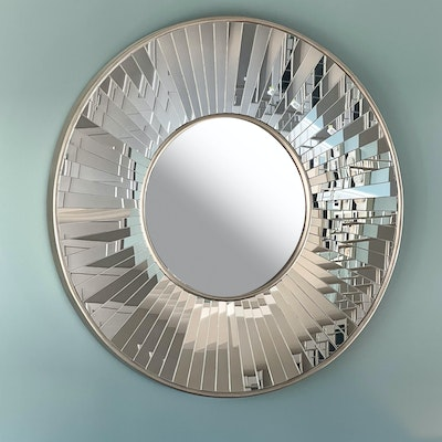 Prism Style Satin Silver Tone Wall Mirror