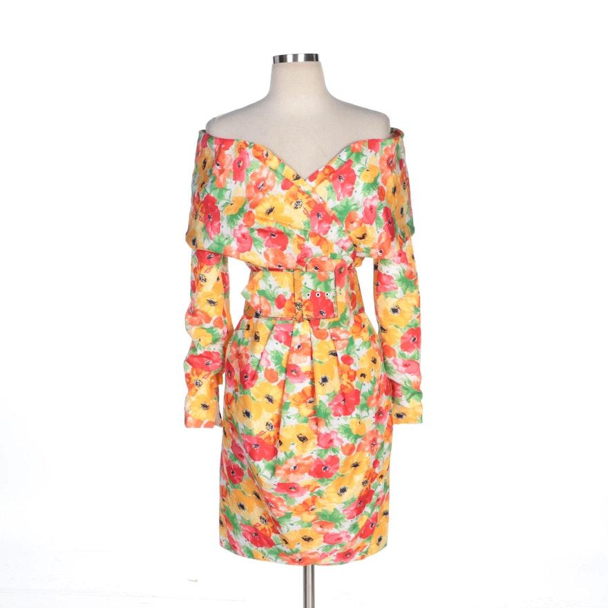 Victor Costa Poppy Print Draped Off-the-Shoulder Dress for Bergdorf Goodman