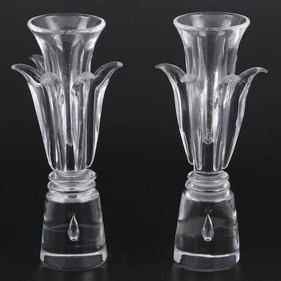 Steuben Art Glass Foliate Candle Holders Designed by Donald Pollard