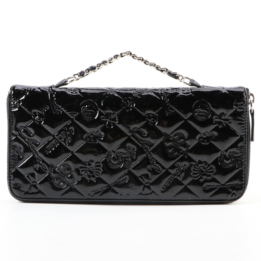 Chanel Lucky Quilt Embossed Chain Organizer in Patent Leather