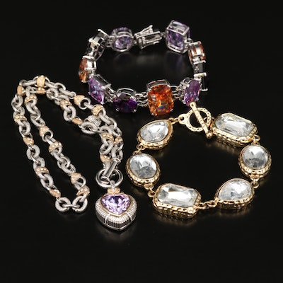 Rhinestone and Cubic Zirconia Necklace and Bracelets