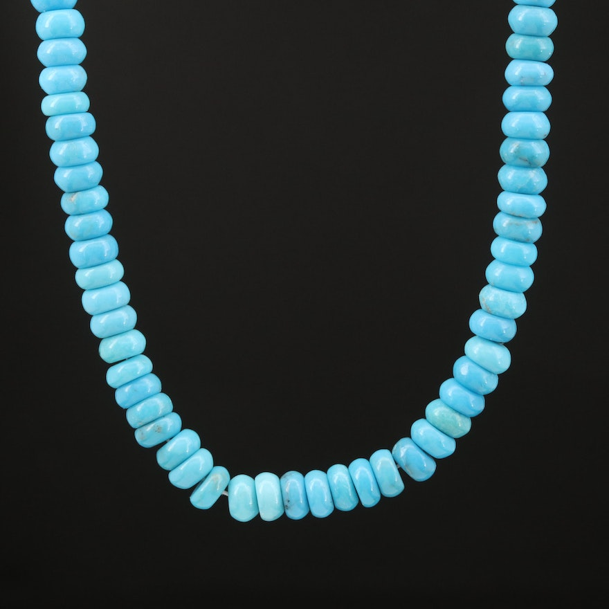 Beaded Turquoise Necklace with 18K Clasp