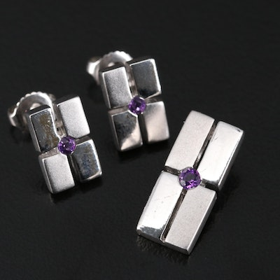 Sterling Silver and Amethyst Earring and Pendant Set