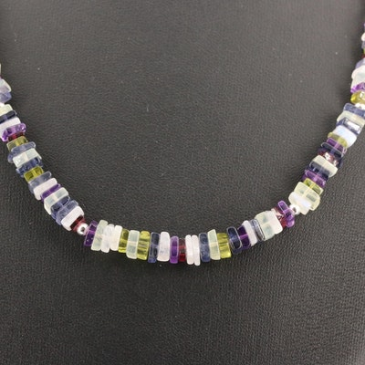 Sterling Silver Iolite, Amethyst, Garnet and Peridot Beaded Necklace