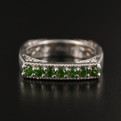 Sterling Silver Square Diopside Band with Scroll Work Corners