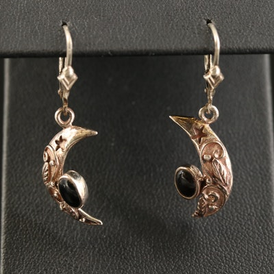 Sterling Black Onyx Crescent Moon Dangle Earrings