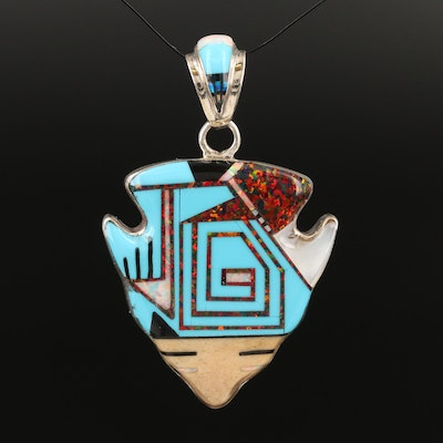 Southwestern Sterling Silver Inlaid Arrowhead Pendant