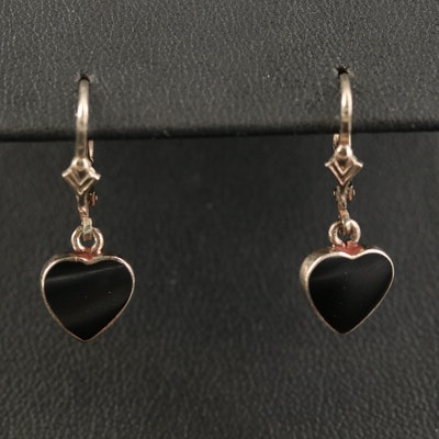 Sterling Black Onyx Heart Dangle Earrings