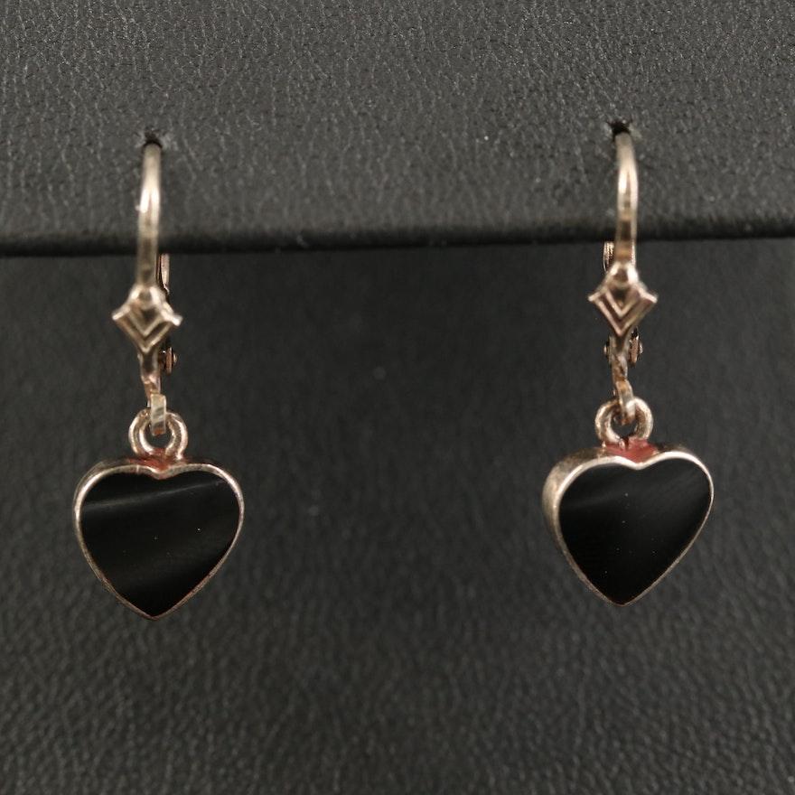 Sterling Black Onyx Heart Dangle Earrings