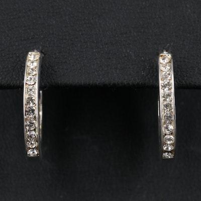 Sterling Silver Inside-Out Rhinestone Hoop Earrings