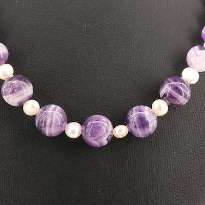 Sterling Amethyst and Pearl Necklace
