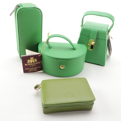 Rowallan of Scotland Green Leather Jewelry Travel Cases, Contemporary