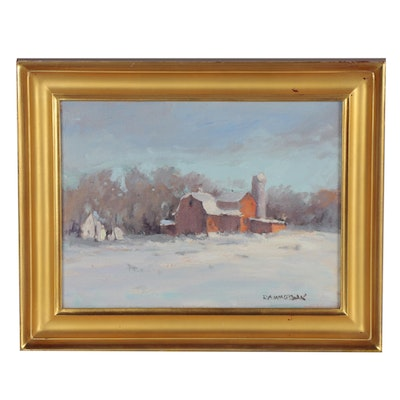 "Robert Alan Watsak Landscape Oil Painting ""The Farm,"" 2014"