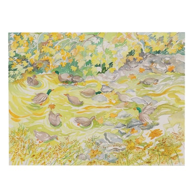 """Sheila Bonser Watercolor Painting """"Duck Pond,"""" 21st Century"""
