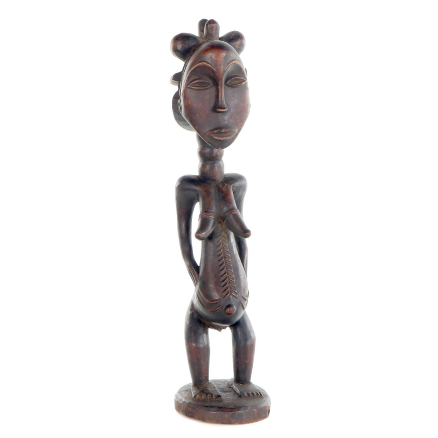 Bassa Style Carved Wood Female Figure, Central Africa