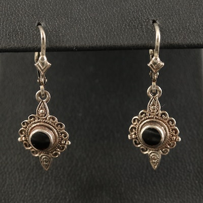Bali Style Sterling Black Onyx Dangle Earrings