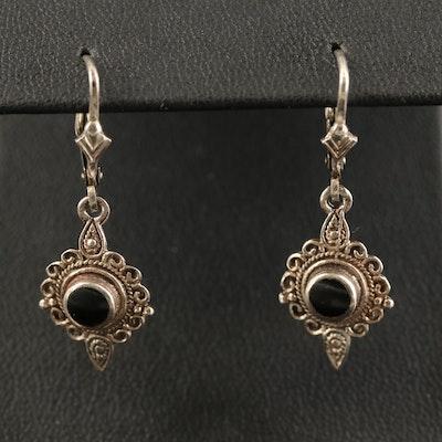 Bali Style Sterling Black Onyx Dangle Earrings