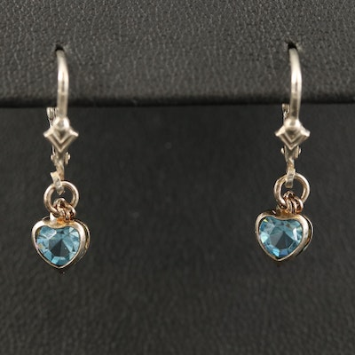Sterling Glass Heart Dangle Earrings