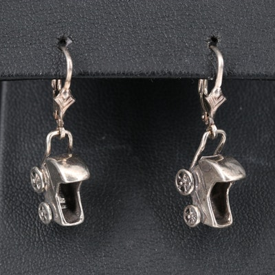 Sterling Silver Carriage Drop Earrings