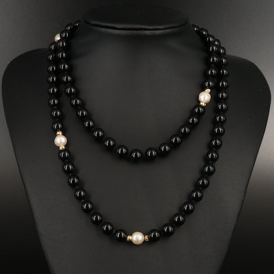 Black Onyx and Pearl Endless Necklace with 14K Accent Beads