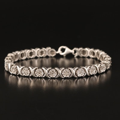"Sterling Diamond ""XO"" Link Bracelet"