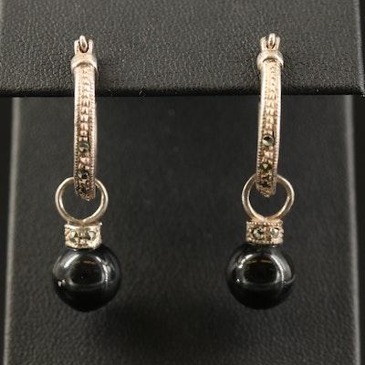 Sterling Marcasite Hoop Earrings with  Faux Black Onyx Drops