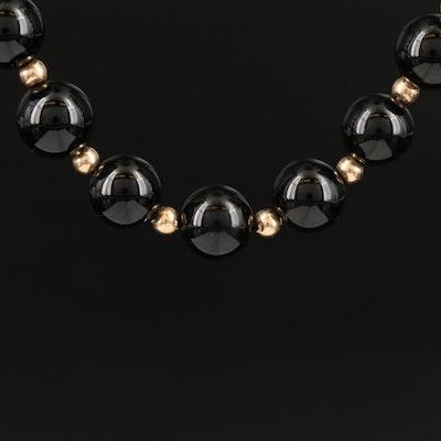 Single Strand Black Onyx and 14K Endless Necklace