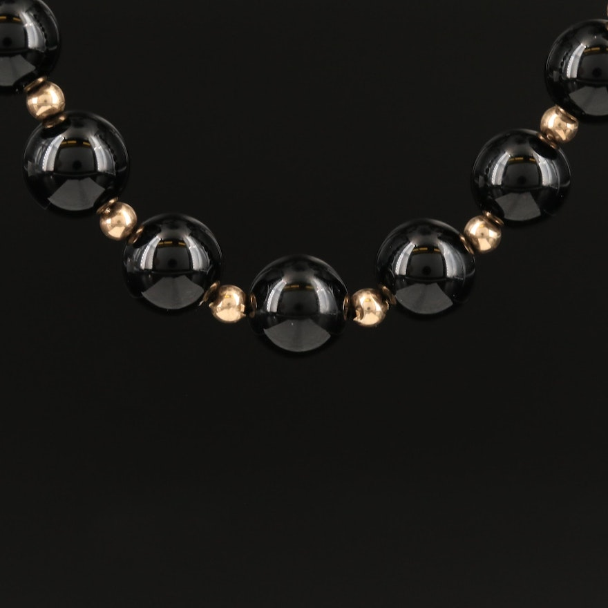Single Strand Black Onyx and 14K Endless Necklace