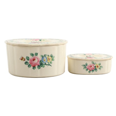 Mikori Ware Hand Painted Ceramic Lidded Canisters, Mid-20th Century