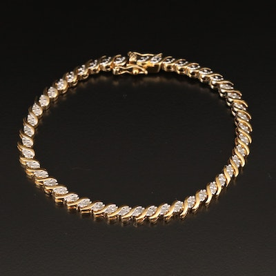 Sterling Silver Diamond Serpentine Link Bracelet