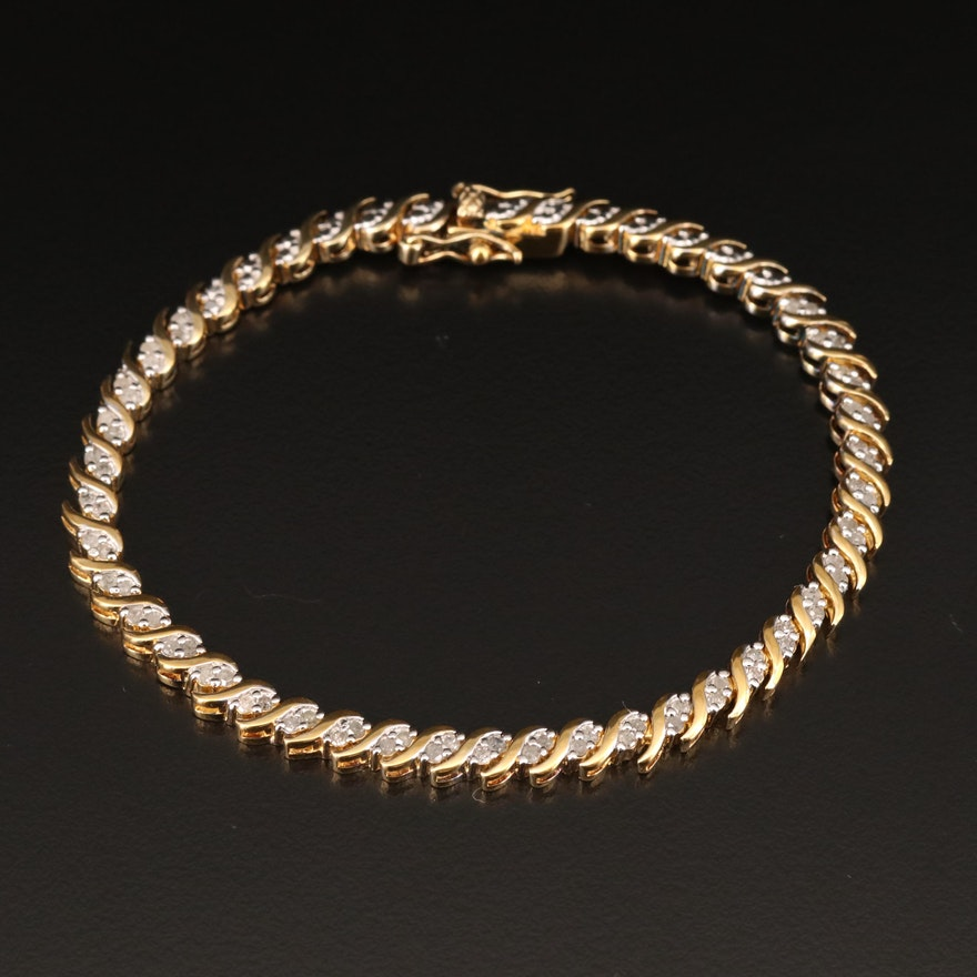 Sterling Silver Diamond Serpentine Link Bracelet