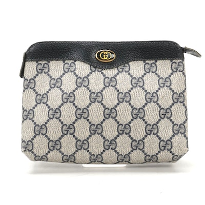 Gucci Accessory Collection Travel Pouch in GG Supreme Canvas and Navy Leather
