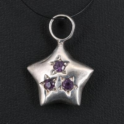 Sterling Silver Rhinestone Star Pendant