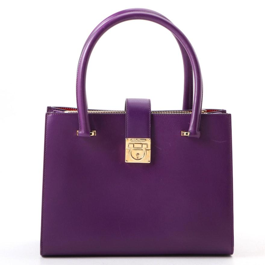 Salvatore Ferragamo Gancini Purple Leather Tote