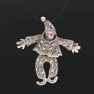 Sterling Silver Ruby and Marcasite Articulated Clown Pendant