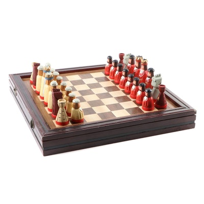 Thomas Pacconi Hand-Carved Wooden Chess and Checker Set