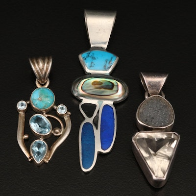 Pendants with Sterling, Druzy, Topaz, Abalone and Turquoise