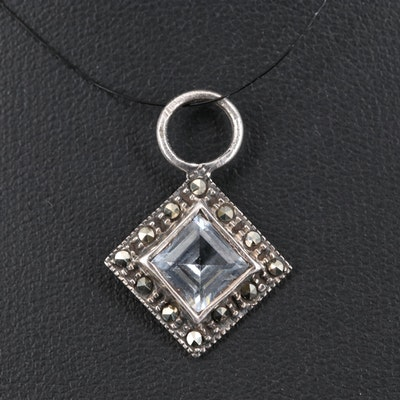 Sterling Silver Spinel and Marcasite Pendant
