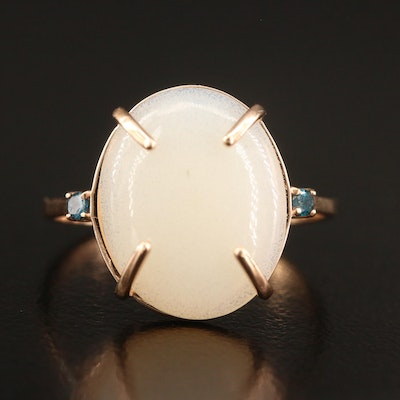 14K Opal Ring Featuring Diamond Accents