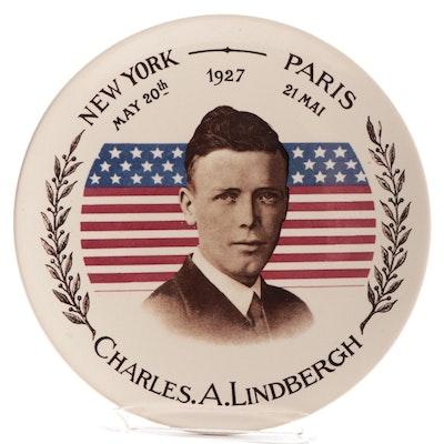 "Sarreguemines  Pottery ""New York - Paris, May 1927 Charles Lindbergh"" Plate"