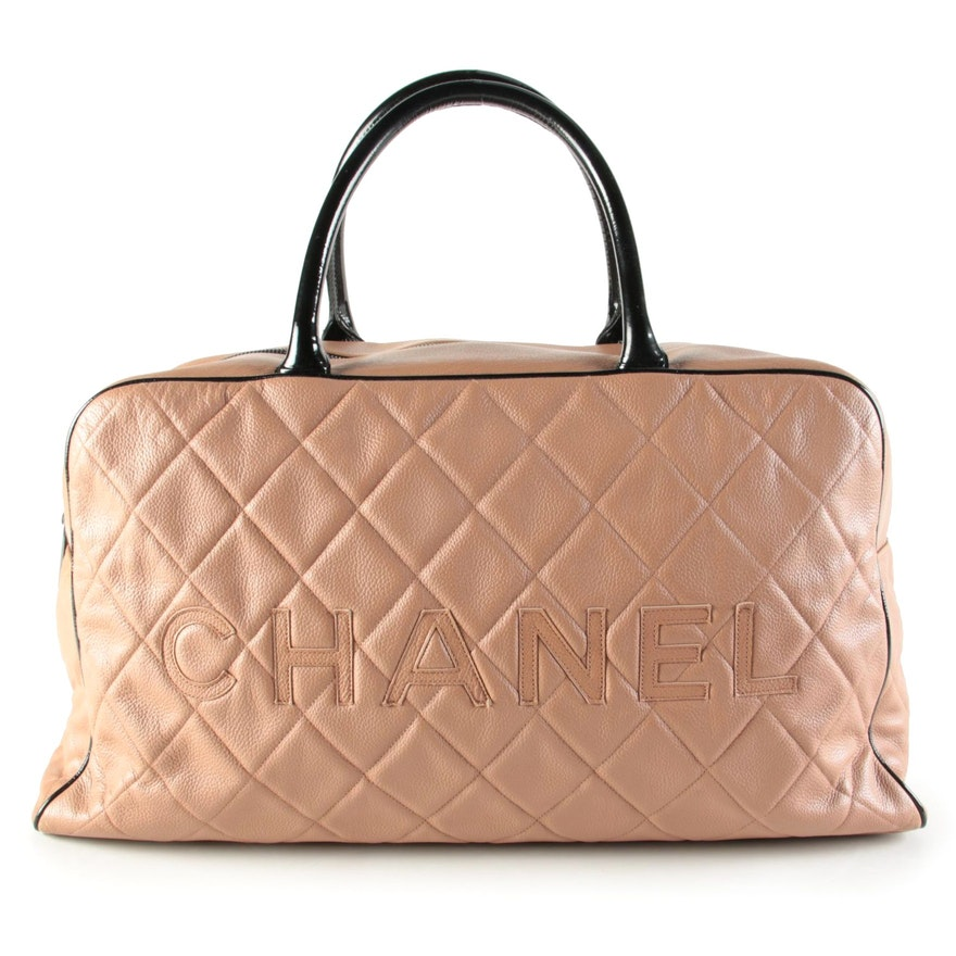Chanel Large Embossed Logo Bowler Bag in Blush Quilted Caviar Leather