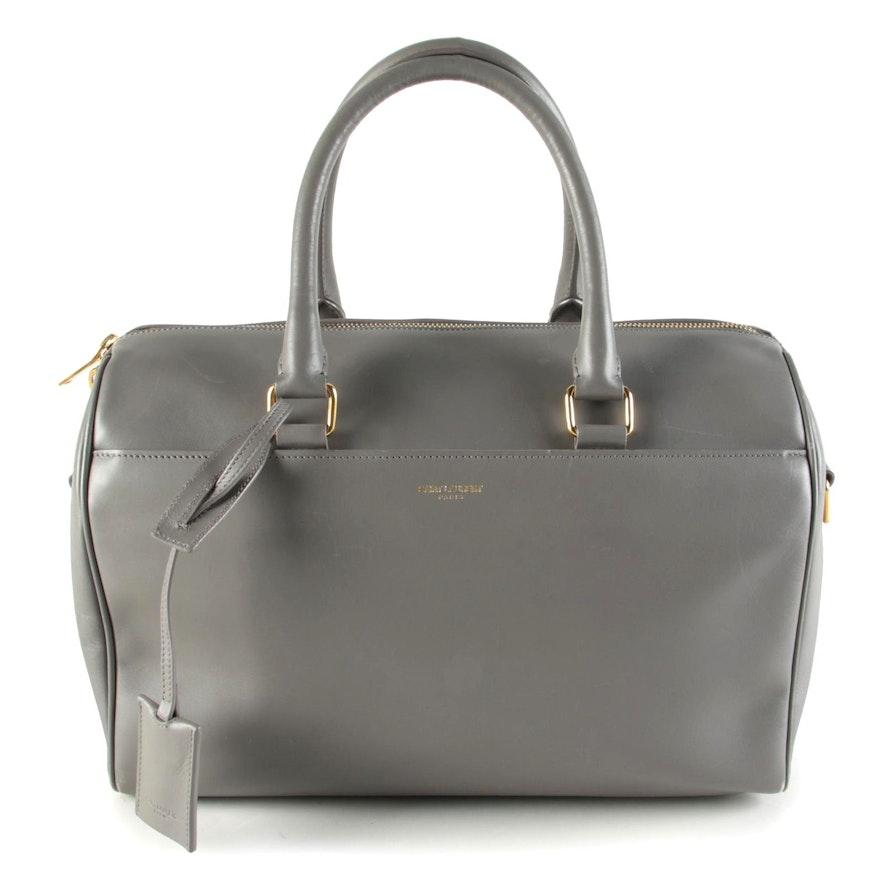 Saint Laurent Classic Duffel 6 Two-Way Handbag in Gray Leather