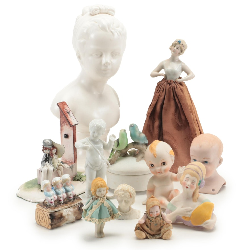 German Half Doll and Other Bisque and Porcelain Dolls and Figurines