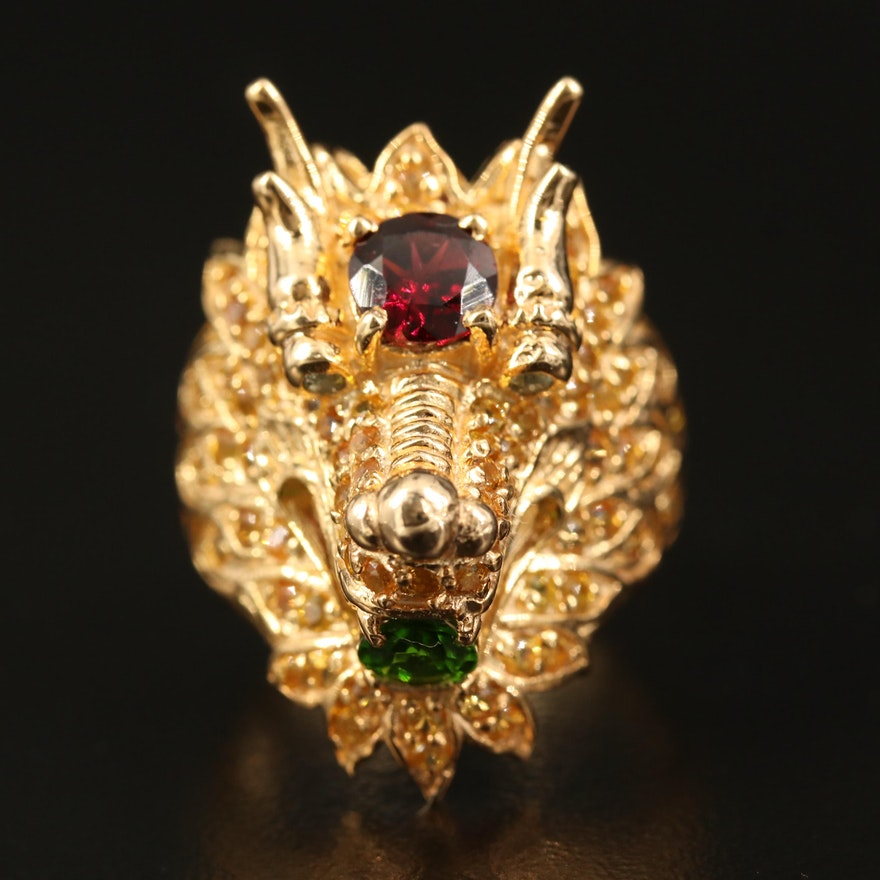 Sterling Garnet, Diopside and Sapphire Dragon Ring
