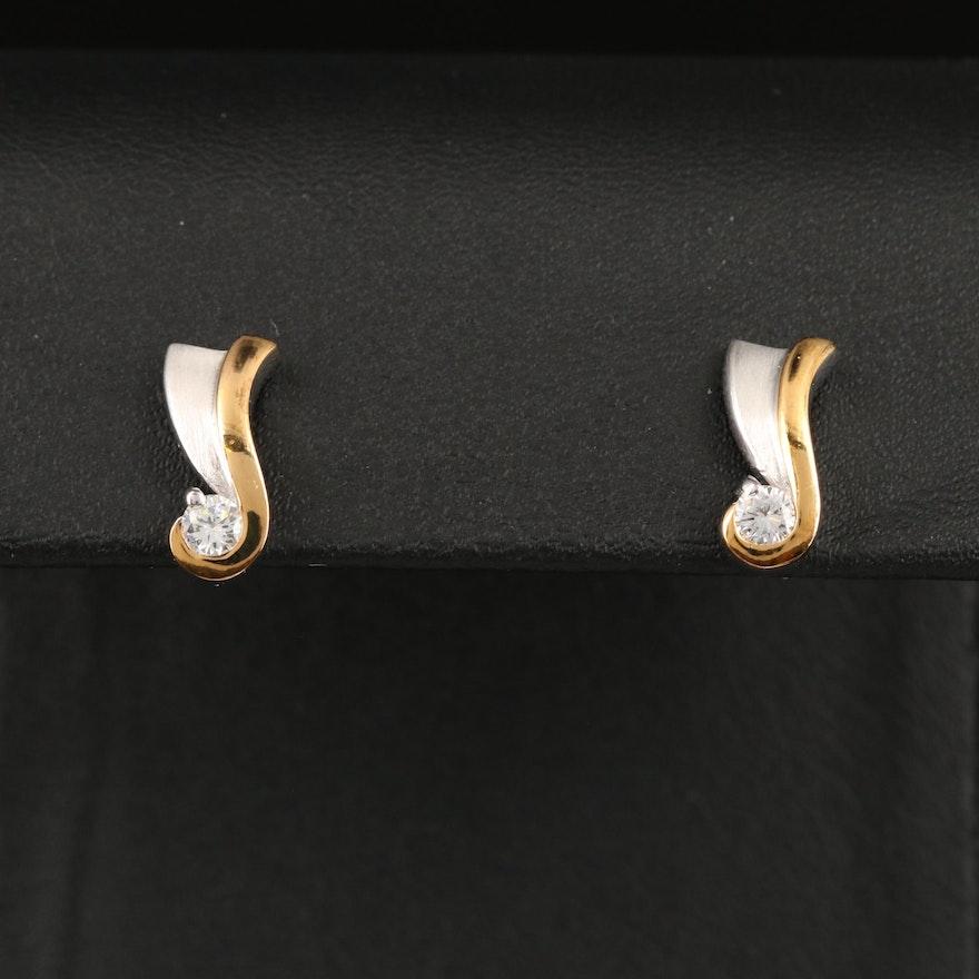 Two-Tone Sterling Cubic Zirconia Stud Earrings