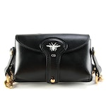 Christian Dior D-Bee Mini Black Leather Saddle Bag
