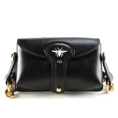 Christian Dior D-Bee Mini Black Leather Saddle Bag